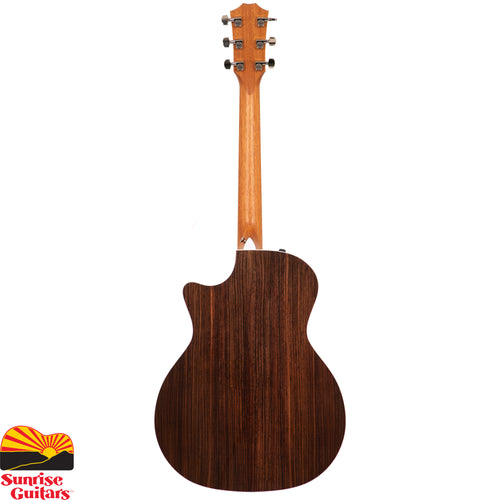 Sunrise Guitars in Fayetteville, Arkansas is proud to carry the Taylor 414ce-R V-Class acoustic guitar. This popular cutaway Grand Auditorium entices players of all styles with an array of sonic delights, starting with the classic wood pairing of solid rosewood and Sitka spruce.