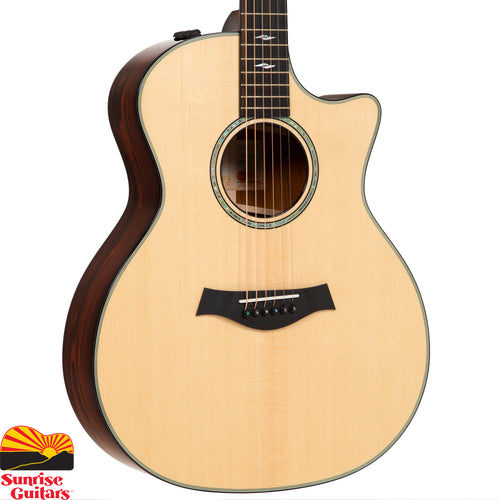 Sunrise Guitars in Fayetteville, Arkansas is proud to carry this Taylor 814ce Limited acoustic guitar. This beautiful limited edition Grand Auditorium has a Lutz Spruce top and Cocobolo back and sides.