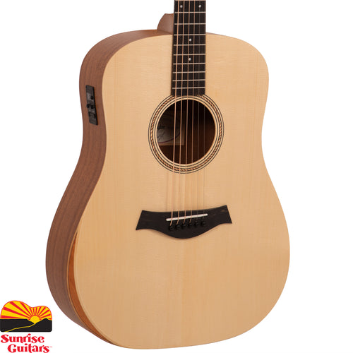 Sunrise Guitars in Fayetteville, Arkansas is proud to carry the Taylor Academy 10e acoustic guitar. This Dreadnought distills the essential features of a great acoustic guitar into a budget-friendly form. Taylor's Academy Series was designed with developing players in mind, so the goal was to create as comfortable a playing experience as possible.