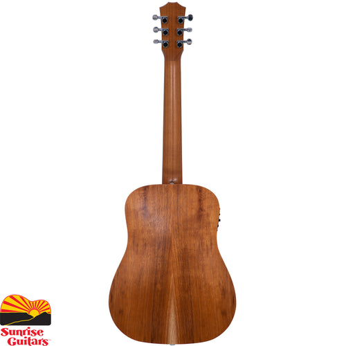 Sunrise Guitars in Fayetteville, Arkansas is proud to carry the Taylor BTE-Koa acoustic guitar. Perfect for fireside jams, basement practice sessions, and practicing on the go, the Baby Taylor has delighted players with its comfortable size and tuneful sound for years.