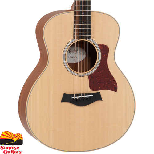 Sunrise Guitars in Fayetteville, Arkansas is proud to carry the Taylor GS Mini acoustic guitar. A marvel of scaled-down design, the GS Mini is a fun little acoustic cannon that has taken the world by storm. Sporting a rich, full voice that belies its compact size, the Mini is ultra-portable, yet just as comfortable to cradle in the comfort of your home, making it the ultimate modern-day parlor guitar.