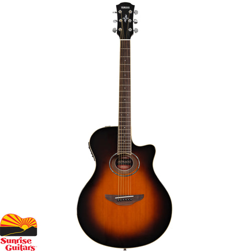 Sunrise Guitars in Fayetteville, Arkansas is proud to carry the Yamaha APX600 Old Violin Sunburst acoustic guitar. As an electric guitarist in the '80s, if you wanted to play acoustic on stage there were few options available. In 1987, Yamaha made the first acoustic guitar that could be taken from a guitar rack, plugged in and played at volume, problem free; no more howling feedback, misplaced mics or dreaded extended sound checks.
