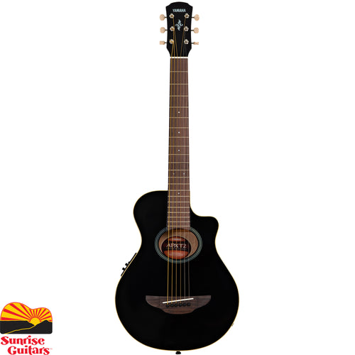 Sunrise Guitars in Fayetteville, Arkansas is proud to carry the Yamaha APXT2 Black acoustic guitar. APXT2 is a 3/4 size of the world best-selling acoustic-electric guitar, APX500II. This fun, yet well-constructed compact guitar makes a great company when you are on a road. APXT2 features ART-based pickup system and a Yamaha's proprietary tuner with great sensitivity and accuracy for quick tuning. Accessory includes a gigbag.