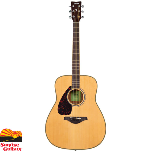 Sunrise Guitars in Fayetteville, Arkansas is proud to carry the Yamaha FG820L acoustic guitar. In addition to warmer and stronger sound thanks to the mahogany back and sides, the body binding and fingerboard binding are cream plastic, for an upgraded look.