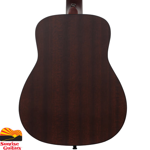 Sunrise Guitars in Fayetteville, Arkansas is proud to carry the Yamaha JR2 Tobacco Sunburst acoustic guitar. The JR2 is a compact acoustic guitar modeled after our long selling FG series. Its compact size and authentic acoustic tone make the JR2 and excellent take along, play anywhere guitar.