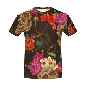 Skull And Flowers Seamless All Over Print T-Shirt for Men (USA Size) (Model T40) - Ugly Station