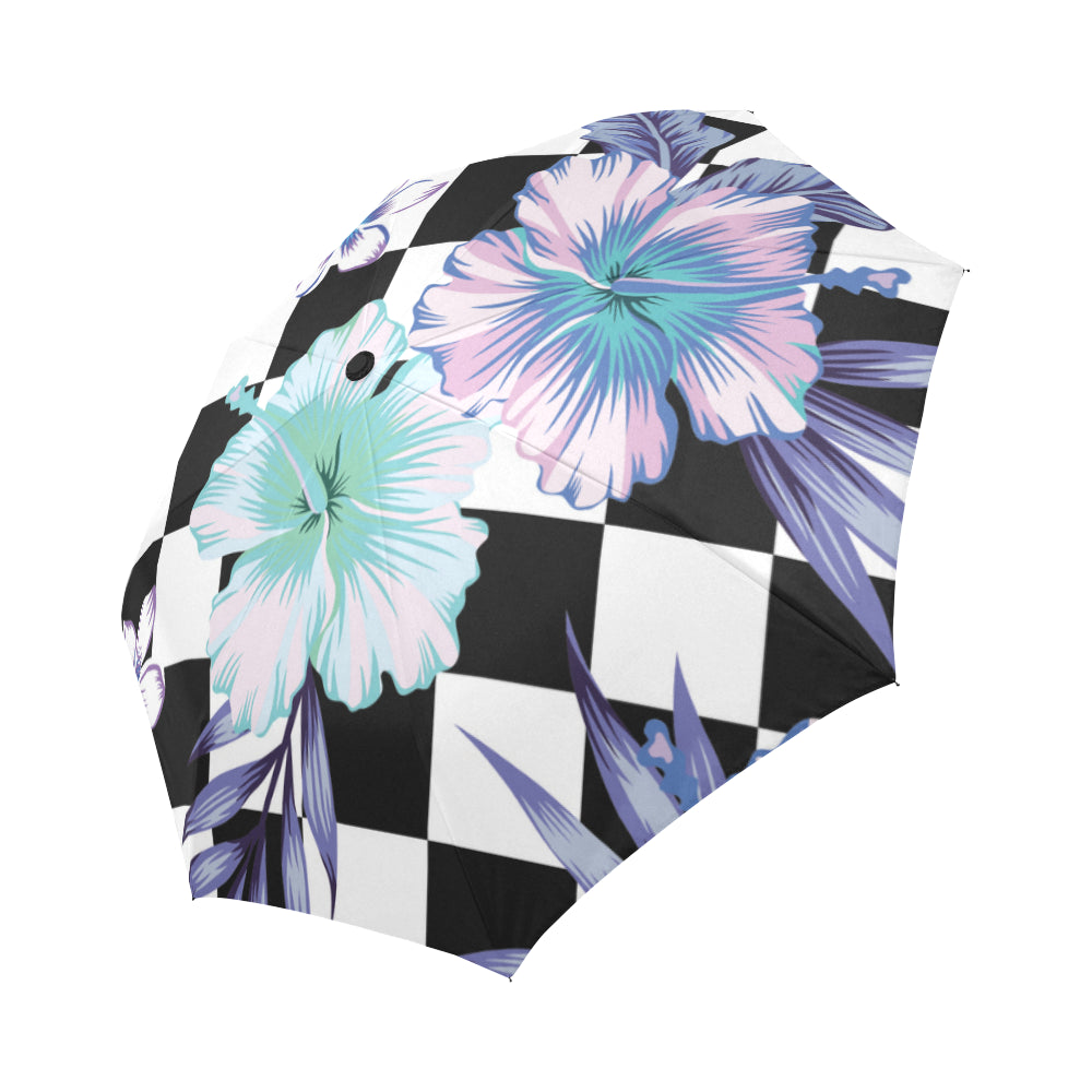 hibiscus and palm leaves Auto-Foldable Umbrella (Model U04) - Ugly Station