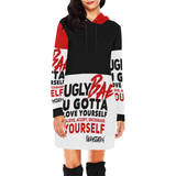Ugly Bae RED Dress All Over Print Hoodie Mini Dress (Model H27) - Ugly Station