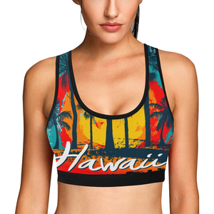 Hawaii Palm Tree Women's All Over Print Sports Bra (Model T52) - Ugly Station
