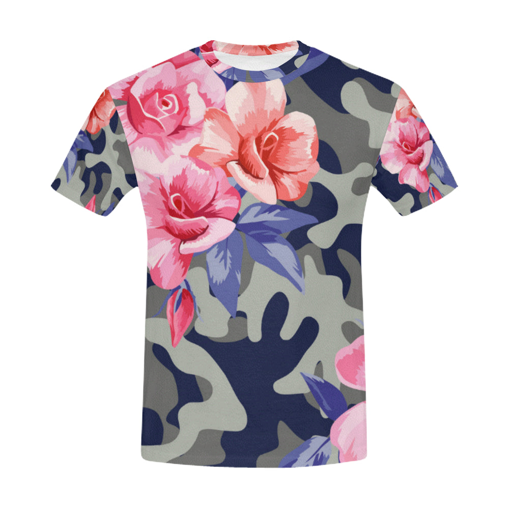 Trendy Camo with Beautiful Flower Pink Rose All Over Print T-Shirt for Men (USA Size) (Model T40) - Ugly Station