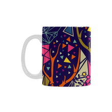 Skull with Floral and Polygonal Ornament White Mug(11OZ) - Ugly Station