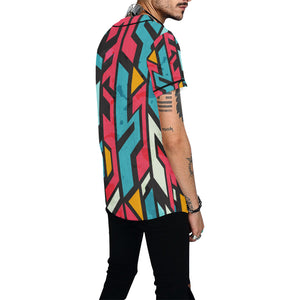 Techno Geometrical Pattern All Over Print Baseball Jersey for Men (Model T50) - Ugly Station