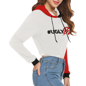 UglyBae REd Hoodie All Over Print Crop Hoodie for Women - Ugly Station