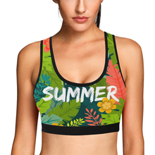 Summer Palm Tree Women's All Over Print Sports Bra (Model T52) - Ugly Station