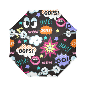 Pop Art WOW OOPS OMG Auto-Foldable Umbrella (Model U04) - Ugly Station