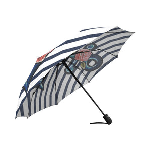 exotic anchor and pink roses Auto-Foldable Umbrella (Model U04) - Ugly Station