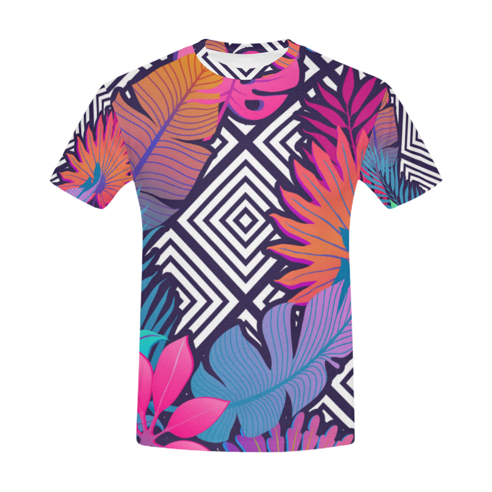 Exotic Leaves and Flowers On Geometrical Ornament All Over Print T-Shirt for Men (USA Size) (Model T40) - Ugly Station