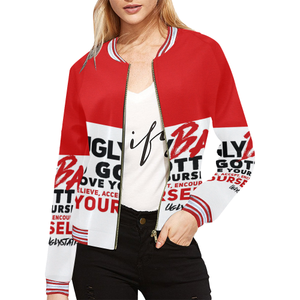 Ugly BAe red jacket All Over Print Bomber Jacket for Women (Model H21) - Ugly Station