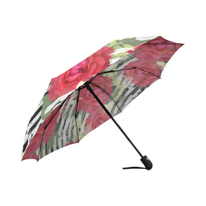 Seamless Pattern Floral Camouflage Striped Auto-Foldable Umbrella (Model U04) - Ugly Station