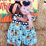 Kids Clothes for Halloween Girls Pumpkin Cartoon Princess Dress Fashion Patchwork Outfits Vestido Festa Infantil - Ugly Station