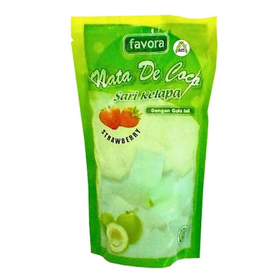 Favora Nata De Coco Strawberry Flavour 360g - Favora Sari Kelapa Rasa Strawberry