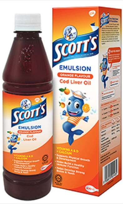 Scott's Emulsion Cod Liver Oil Orange Flavor - Minyak Ikan Kod Rasa Jeruk 400ml
