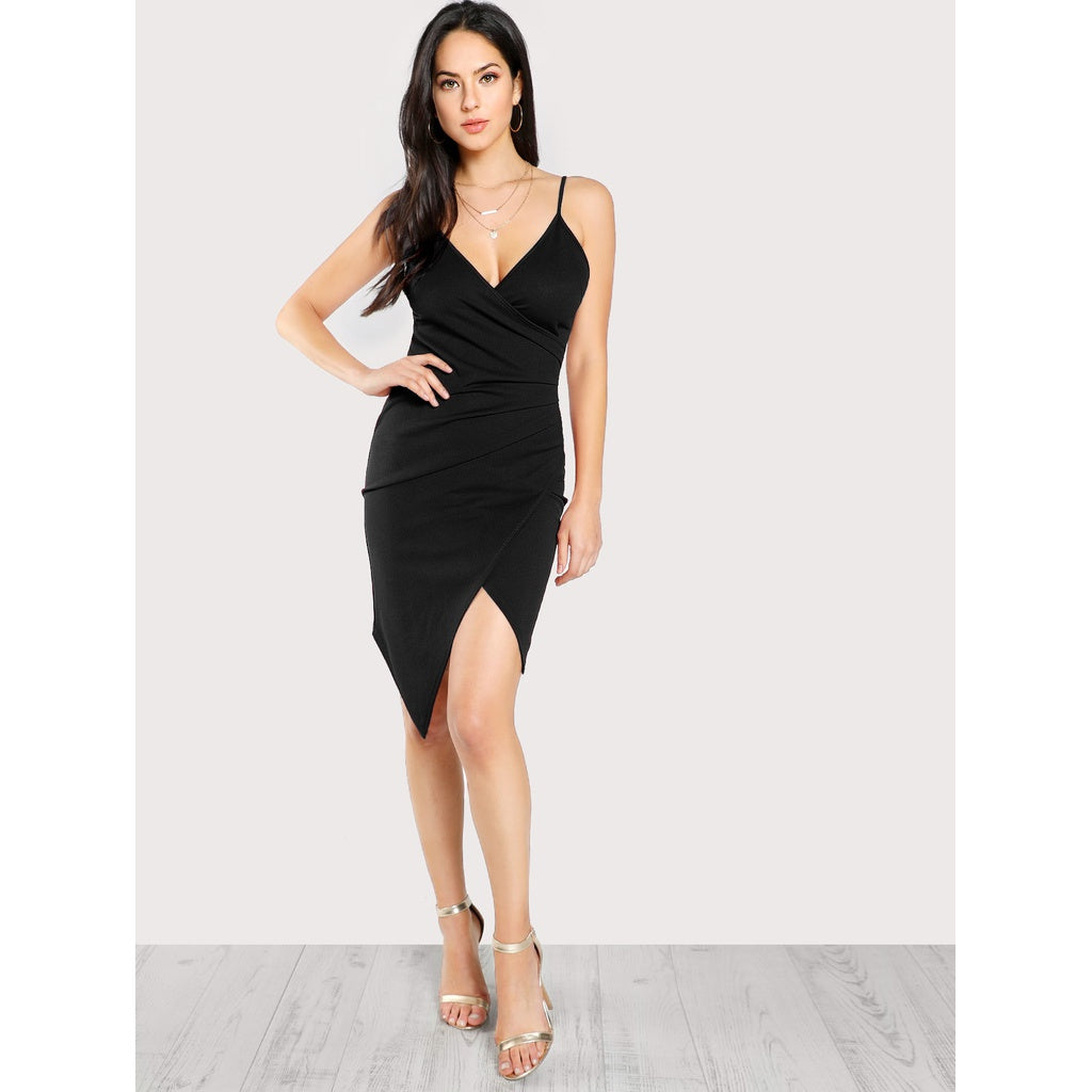 New Elegant Design Ruched Overlap Form Fitting Cami Dress - BrandsGuru