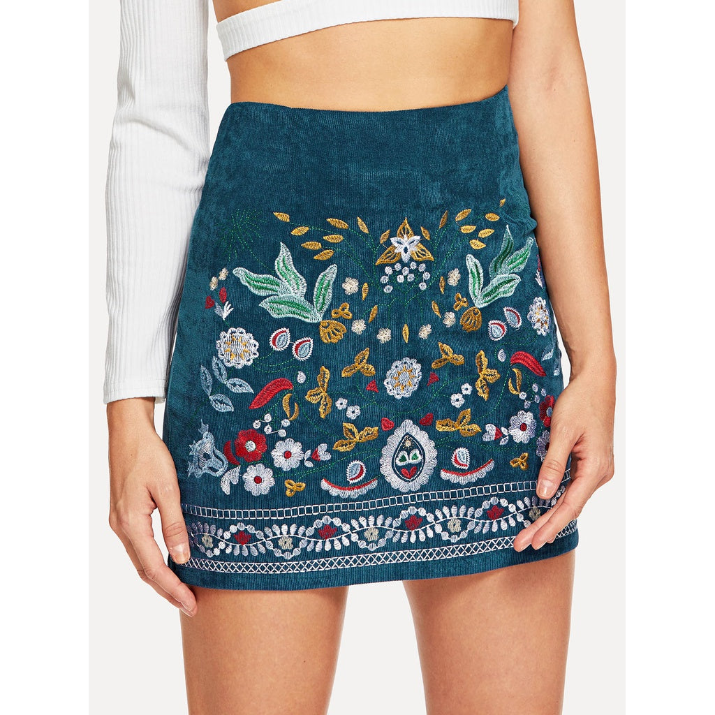 Elegant Art Style Botanical Embroidered Cord Skirt