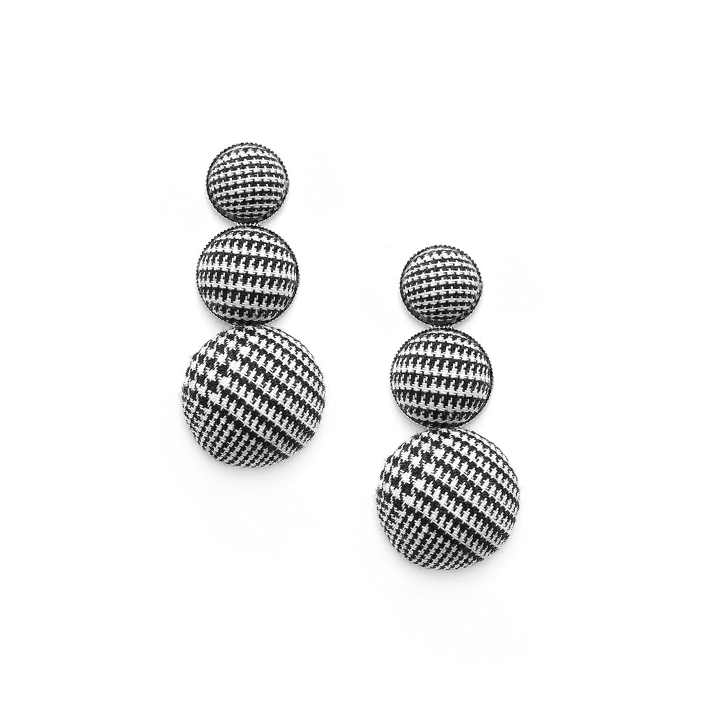 New Elegant Style Layered Half Ball Houndstooth Earrings