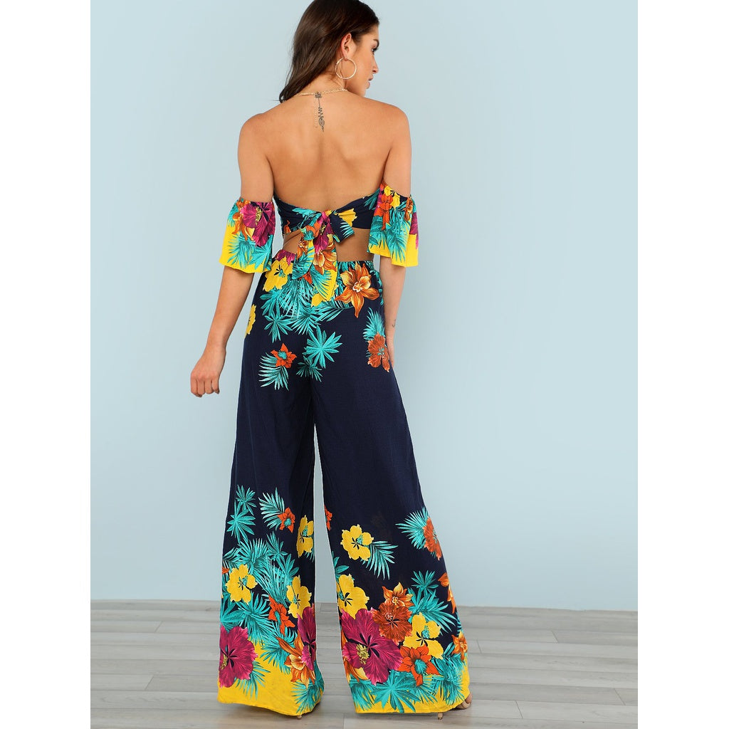 New Sublime Flounce Layered Knotted Back Flare Hem Jumpsuit