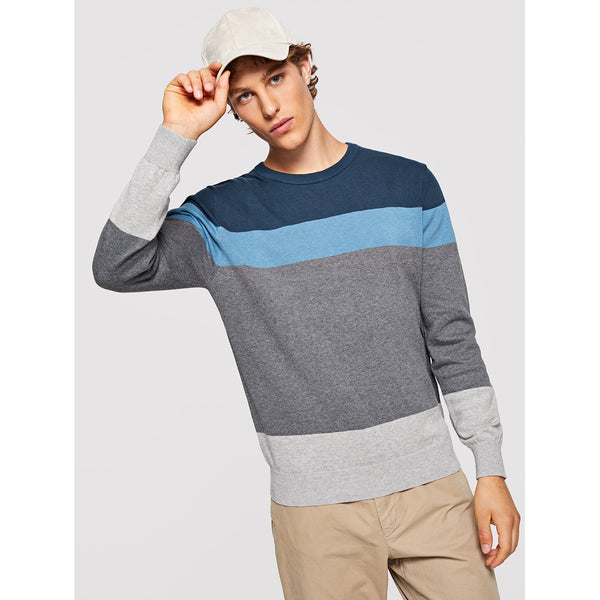 Casual Men Color Block Round Neck Sweater - BrandsGuru