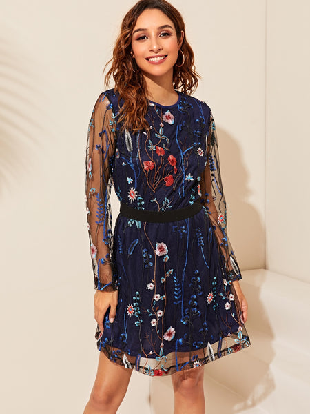 Summer Floral Embroidery Mesh Overlay Dress