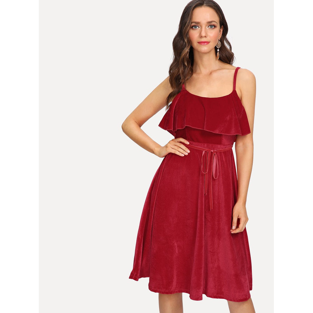 New Sizzling Velvet Ruffle Layered Cami Dress - BrandsGuru