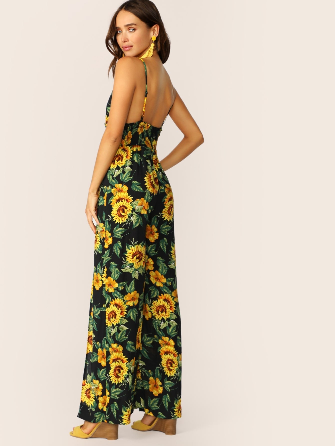 Sunflower Style Split Thigh Shirred Detail Maxi Jumpsuit