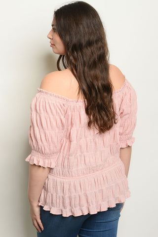 New Fashion Style Blush Plus Size Top