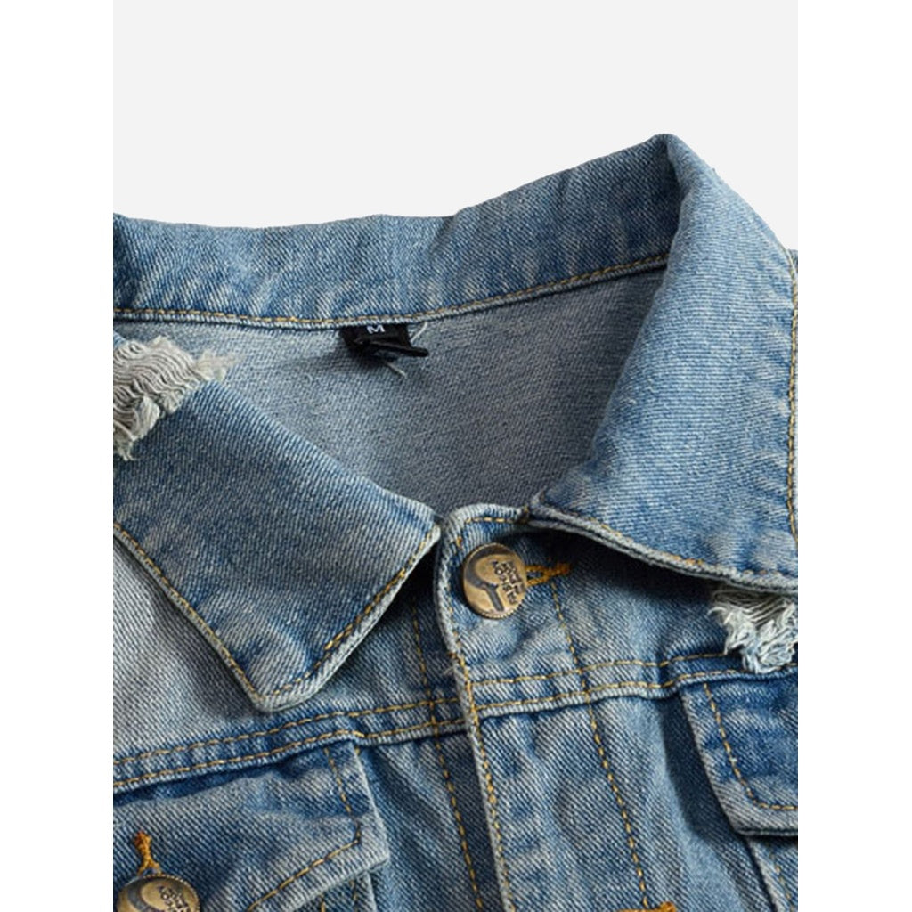 Men Wish Rugged Style Denim Jacket