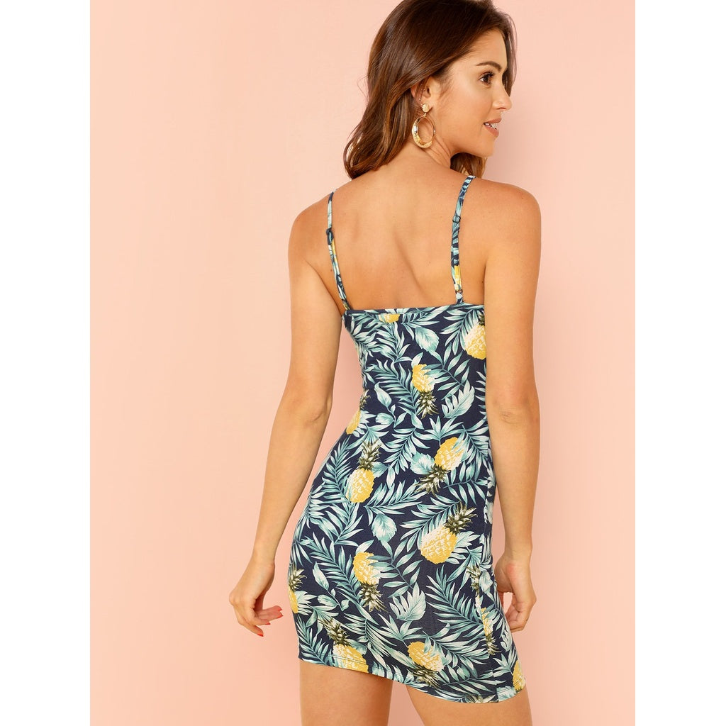 Stunning Pineapple Print Cami Dress - BrandsGuru