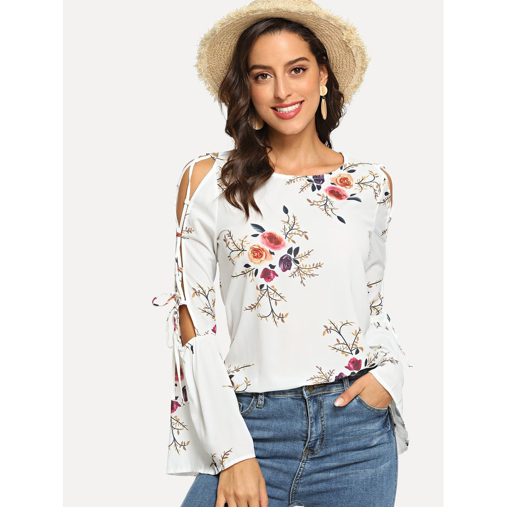 Flower Design Open Shoulder Flounce Sleeve Blouse