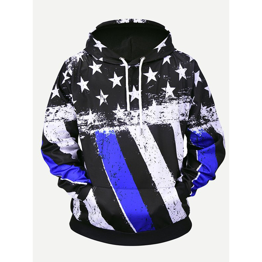 Men 3D Star Style Striped Hooded Sweatshirt