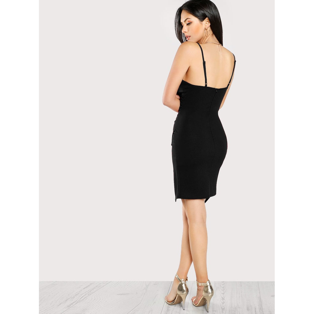 New Elegant Design Ruched Overlap Form Fitting Cami Dress
