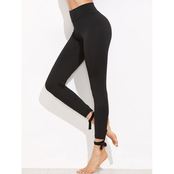 New Sporty Lace Up Hem Leggings
