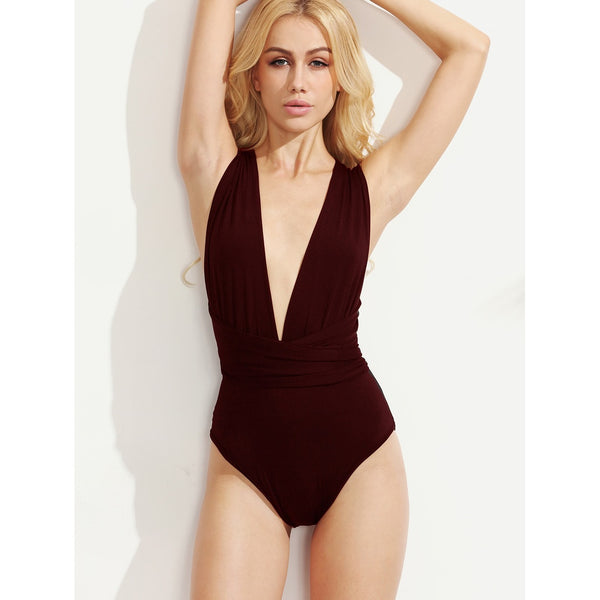 Elegant Multiway Cross Tie Back Plunging Bodysuit - BrandsGuru
