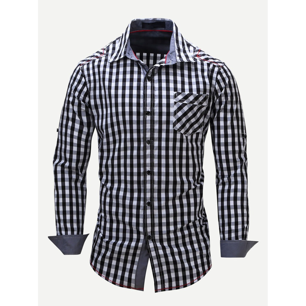 Men Plaid Collar Style Shirt
