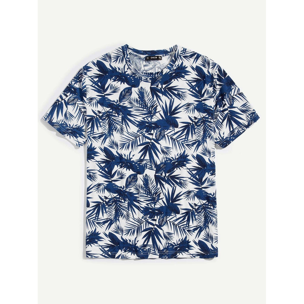 Men Exotic Summer Palm Leaf T-shirt