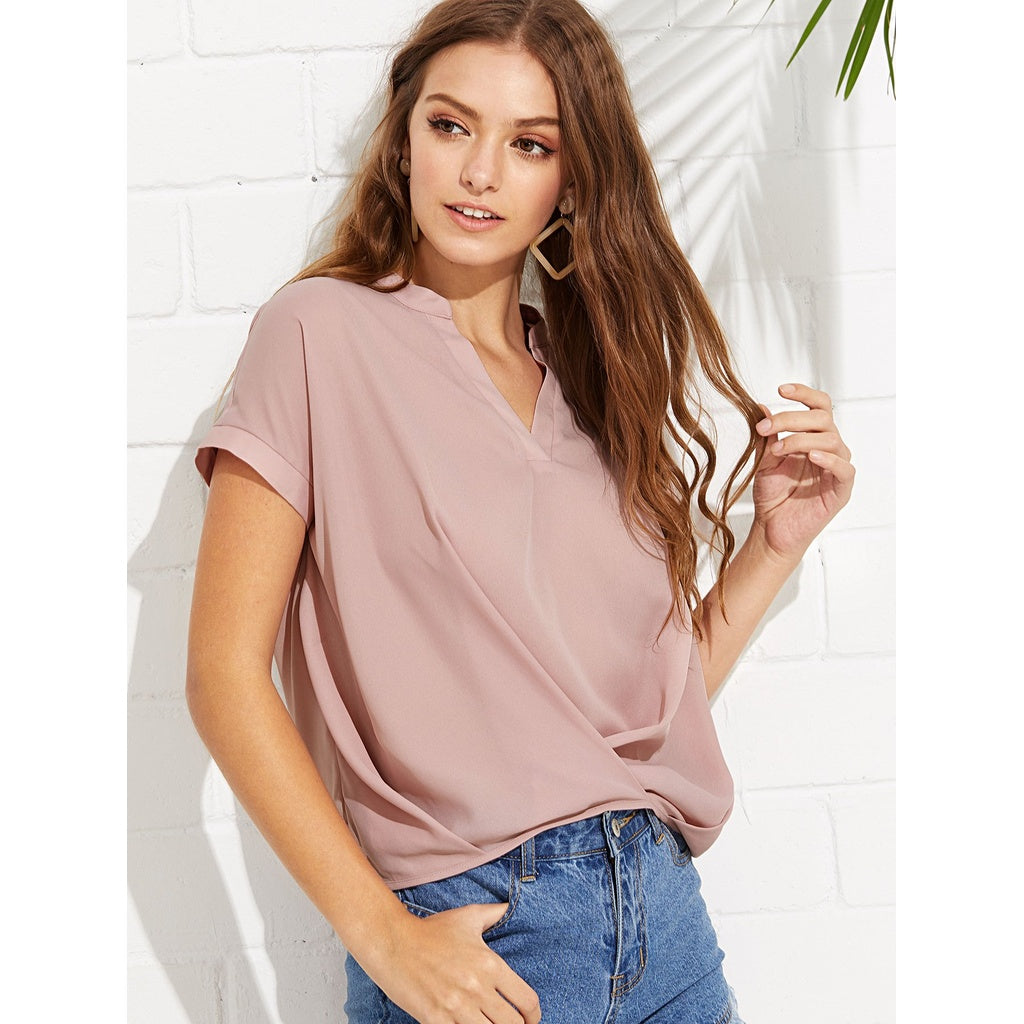 New Draped Style V Neck Plain Top - BrandsGuru