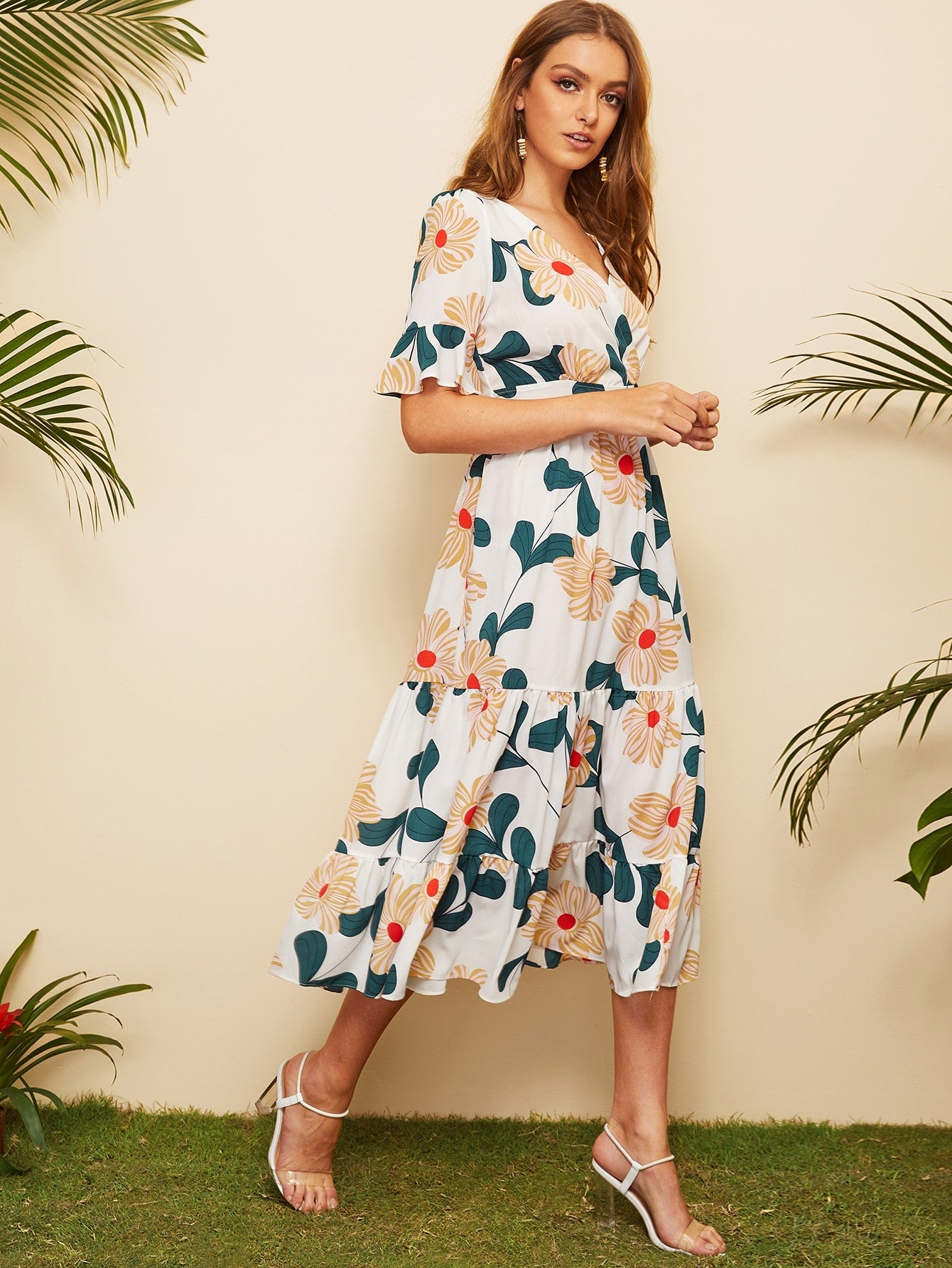 Surplice Floral Ruffle Hem Dress