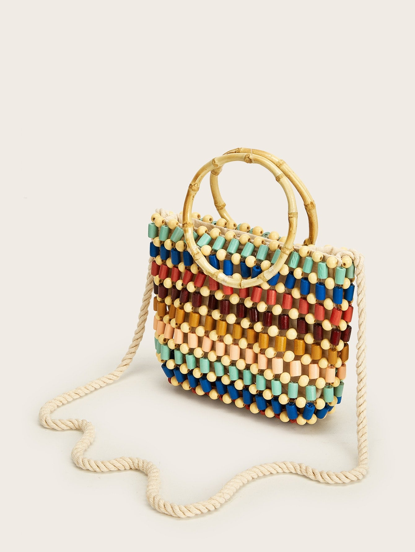Double Handle Beaded Color-block Tote Bag