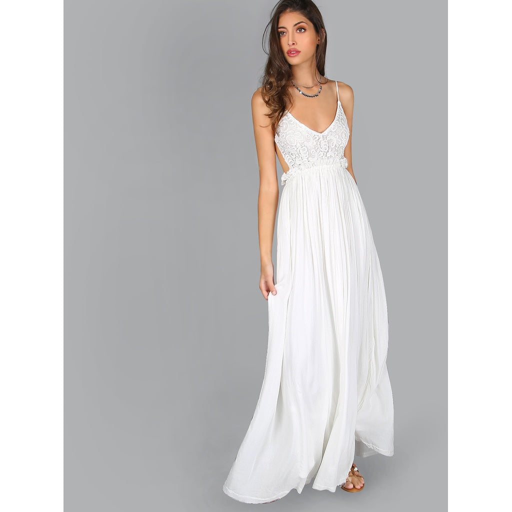 New Lace Overlay Backless Pleated Maxi Dress