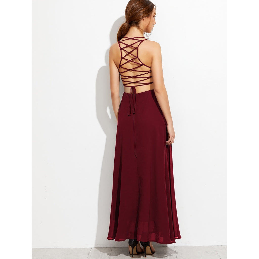 New Stunning Lace Up Back Cami Dress