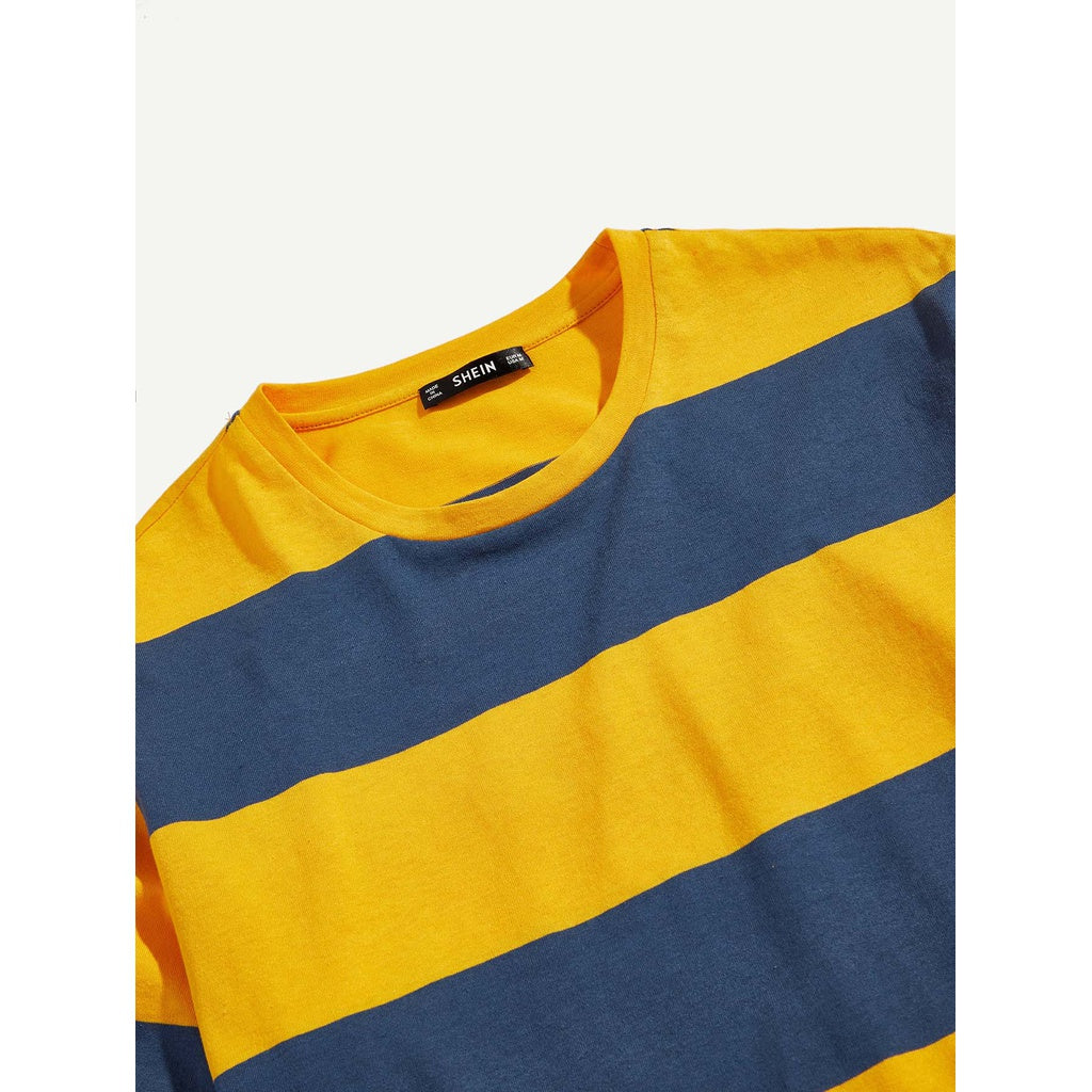 New Men Two Multi Color Stripe T-shirt